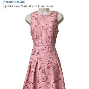 Antonio Melani pink lace midi dress. NWT. Sz.4